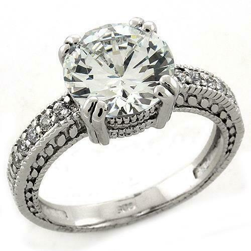 Ladies solitaire ring accents cz sterling silver 2.80 carat stamped clear 1223