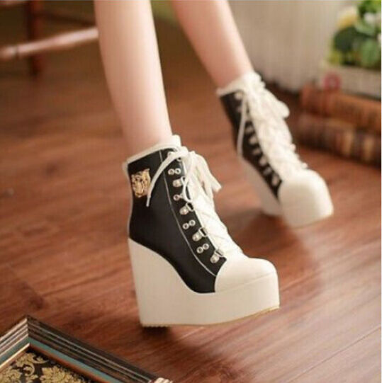 Sweet Women's Wedge High Heels Lace Up Platform Ankle Boots Sneakers Plus Size
