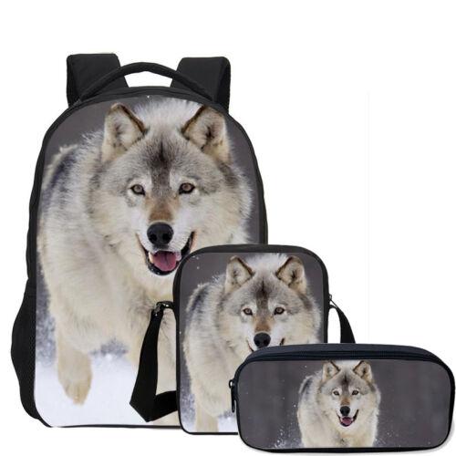 3PC Cool Gray Wolf Kid Sac D/'école Sac-repas isotherme Trousse Wholesale