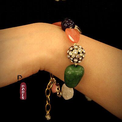 Bracelet Femme Boule de Cristal Quartz Rose Pierre Bleue Verte Qualité CT2