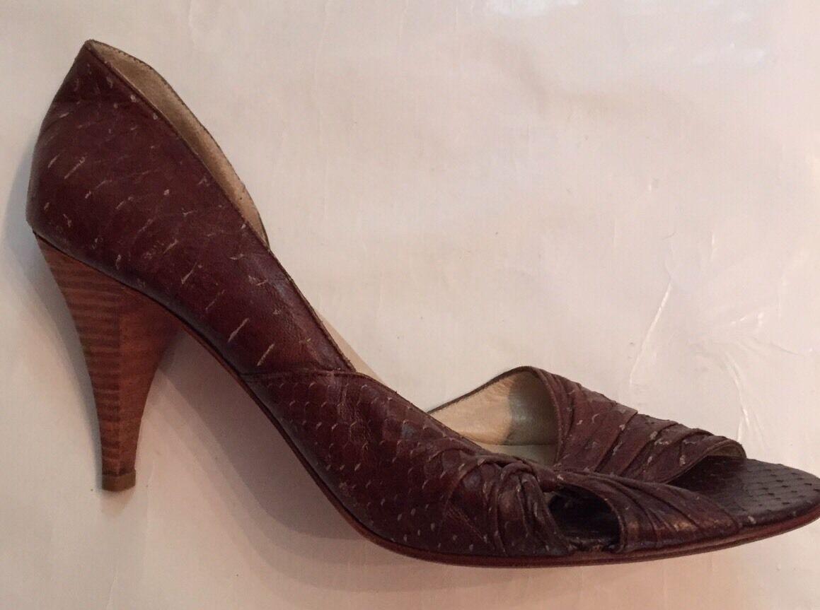 Sz 9 ROBERTA FREYMANN Braun NY Boutique Schuhe Heels Braun FREYMANN Open Toe Soft Leder 457315