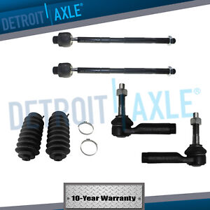 6pc Front Inner and Outer Tie Rod End Links with Rack Boots for Ford Lincoln Flex Taurus MKS MKT Detroit Axle