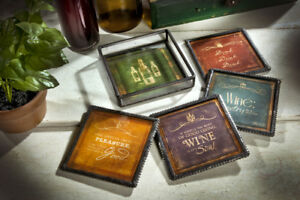 Glass-amp-Metal-WINE-MESSAGES-Coasters-Set-4-with-Metal-Holder-J-Devlin-Glass-Art
