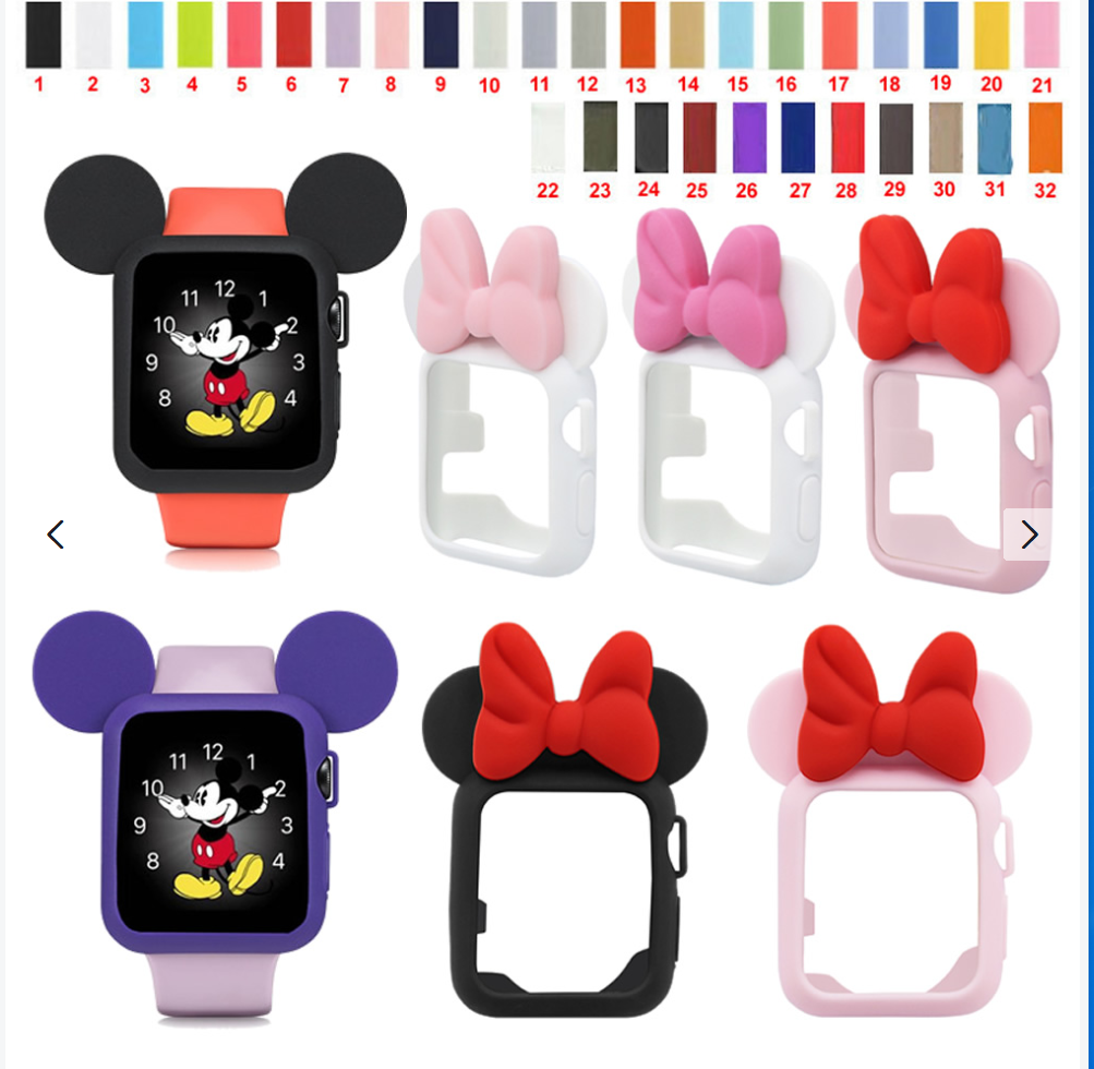 iwatch: Silicone Sport Band Minnie Mouse Ear Case For Apple Watch For iWatch 38/42 40/44