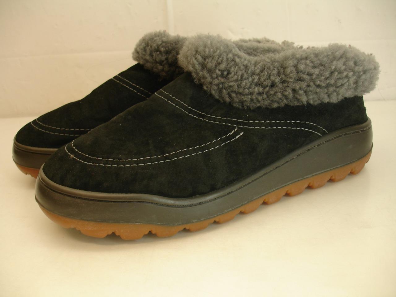 Mens sz 8 M 40 41 Ecologic Black Skeepskin Shearling Fur Slippers Slip-On shoes