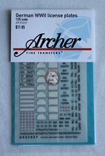 Archer 1/35 German Vehicle License Plates WWII (3 styles, 28 plates) AR35047