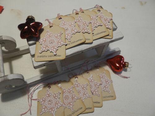 10 Stück handgemacht Stampin up Geschenkanhänger Weihnachten Schneeflocke