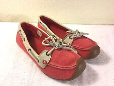 Keen women's red salmon color canvas flats size 7 excellent !!