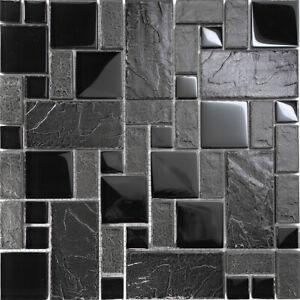 Details about Black Stone Glass Blend Pattern Mosaic Tile Kitchen  Backsplash Faucet Spa