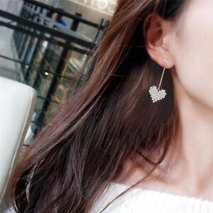 Women-039-s-Fashion-Jewelry-Silver-Plated-Heart-Crystal-Dangle-Hook-Earrings-S