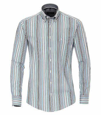 Casa Moda Mens Premium Cotton Ls Comfort Fit Green Stripe Shirt Geschickte Herstellung