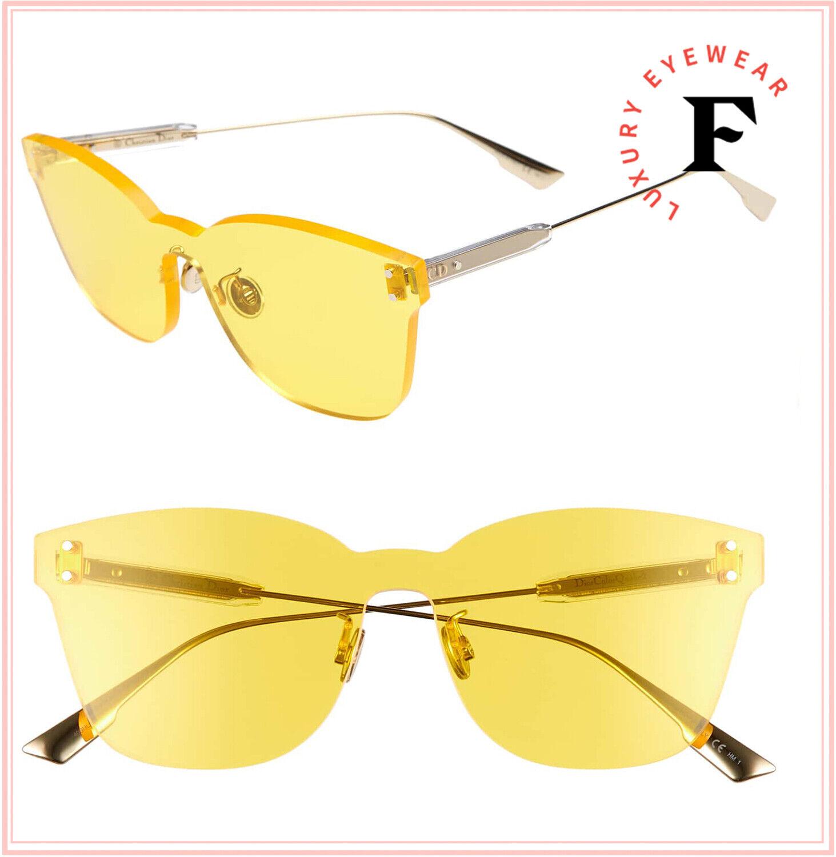 CHRISTIAN DIOR DiorColorQuake2 Yellow Oversized Squared Sunglasses ColorQuake 2
