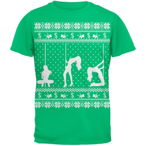 Stripper Silhoutte Ugly Christmas Sweater Green Adult T-Shirt