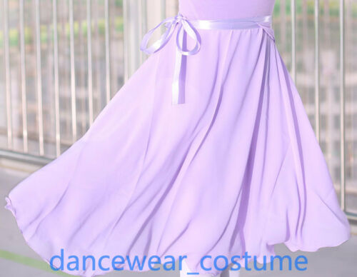 Adult Ladies Mid Calf Length Ballet Leotard Tutu Wrap Scarf Skirt Chiffon 2Color