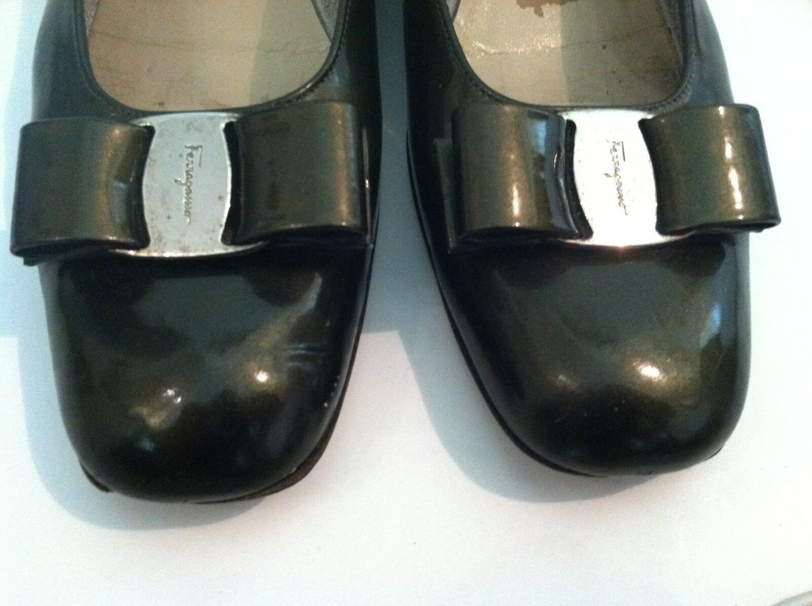Ferragamo 10 AAA green patent Leder flat Vara low heel slip on Vara flat bow rare color bb00af