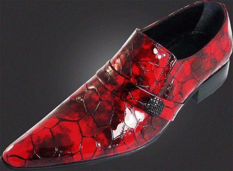Og chelsy a mano italiana Designer cocodrilo más de lo zapato diamante burdeos rojo 39