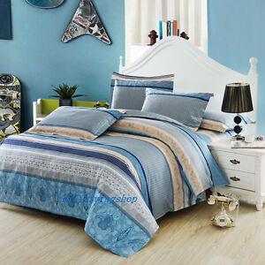 Stripe Blue Single/Double/Queen/King Size Bed Quilt/Doona/Duvet Cover Set Cotton