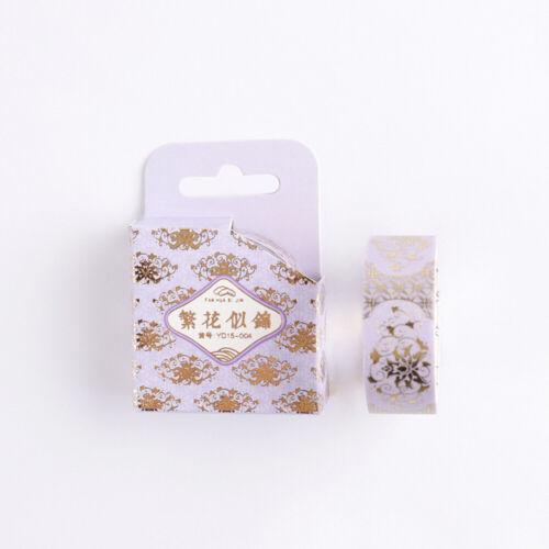 1Roll Flower Bronzing Washi Paper Tape Scrapbooking Sticker Album Card Decor DIY
