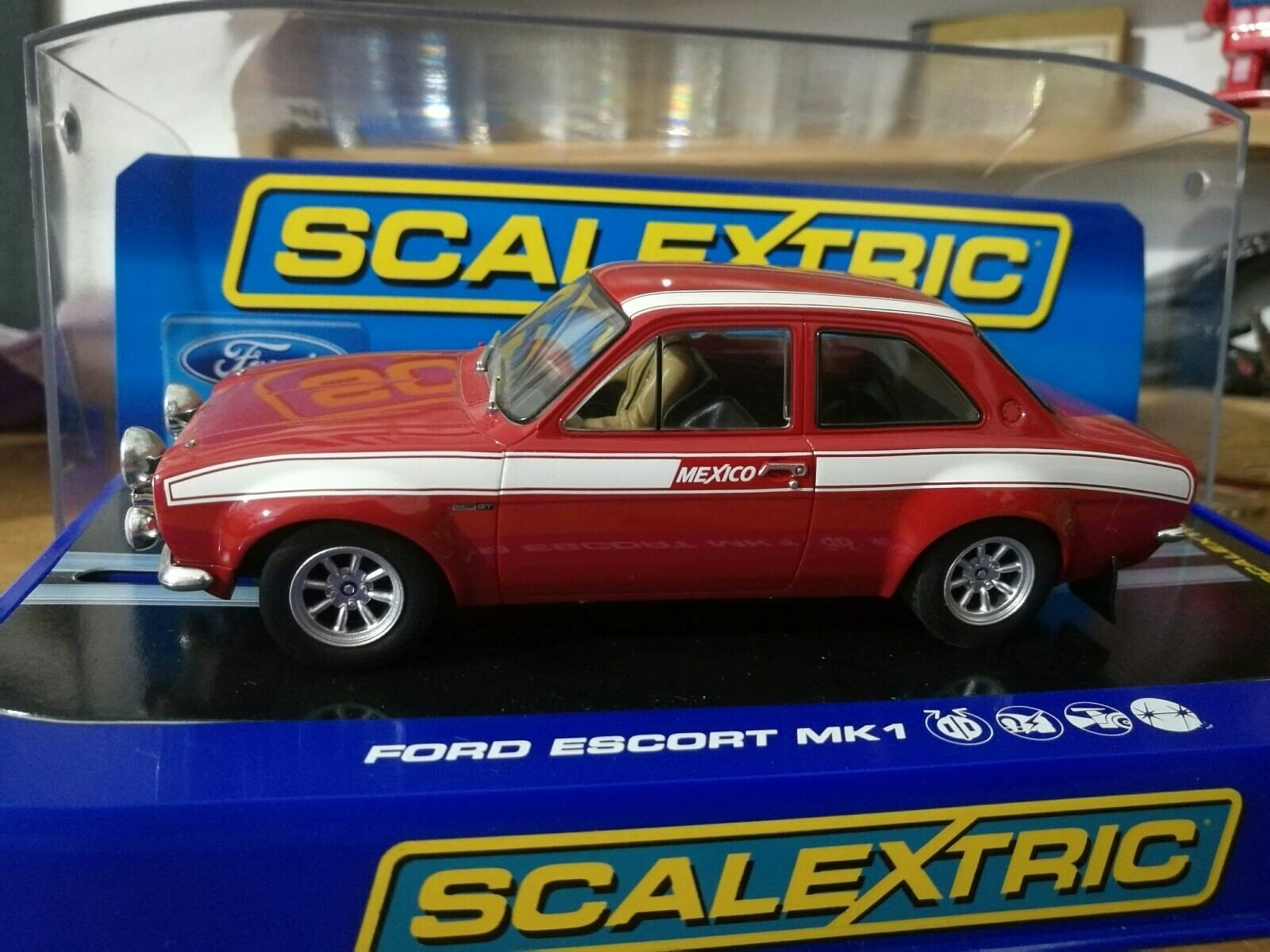 Scalextric ford escort mk1 mexico red rare 1.32