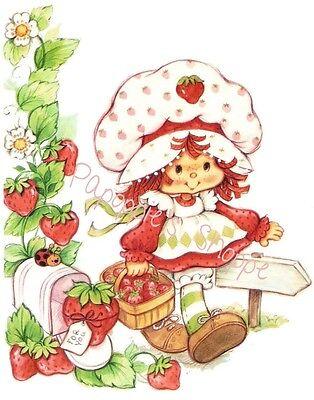 Fabric Block Strawberry Shortcake Basket of Strawberries Ladybug Mailbox Path