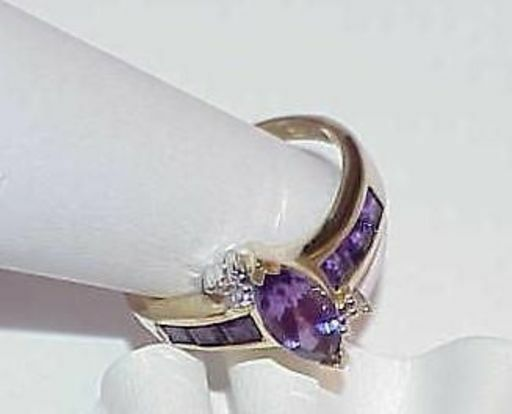 10k Amethyst Marquise Princess Cut Diamond Ring Yellow gold Size 7