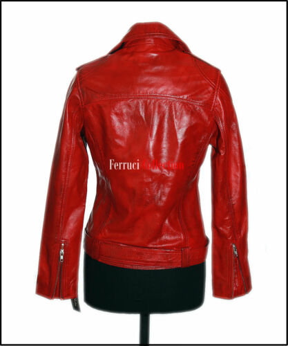 Style Real Jacket Retro Soft Leather Women's Sheep Red Katie Chic Ladies Rock waY1nP0q