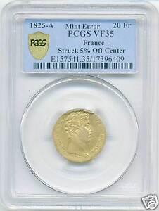Charles X (1824-1830) 20 Francs Gold 1825 Paris Mint Decentree PCGS VF35