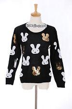 TH-15 Gr. XS-S Pullover schwarz black Hase Rabbit Paillette Japan Trend Fashion