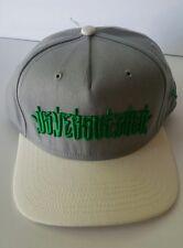 Us versus Them logo snapback hat, grey and white