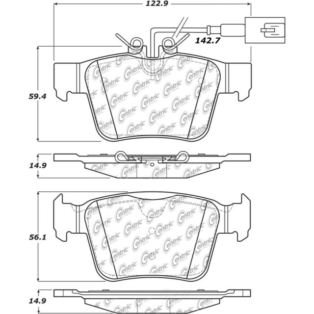 Rr Super Premium Ceramic Brake Pads  Centric Parts  105.19891
