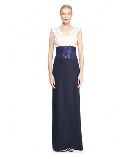 Tadashi Shoji Sequin Top Embroidered Lace Navy and Ivory Gown Sz - 4 ...