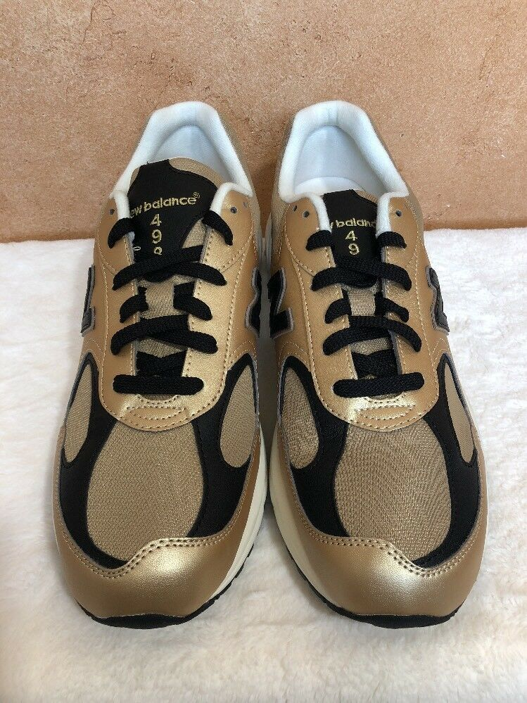 NWOB New Balance Mens ML498GB Gold Leather Running Walking Shoes Size 8