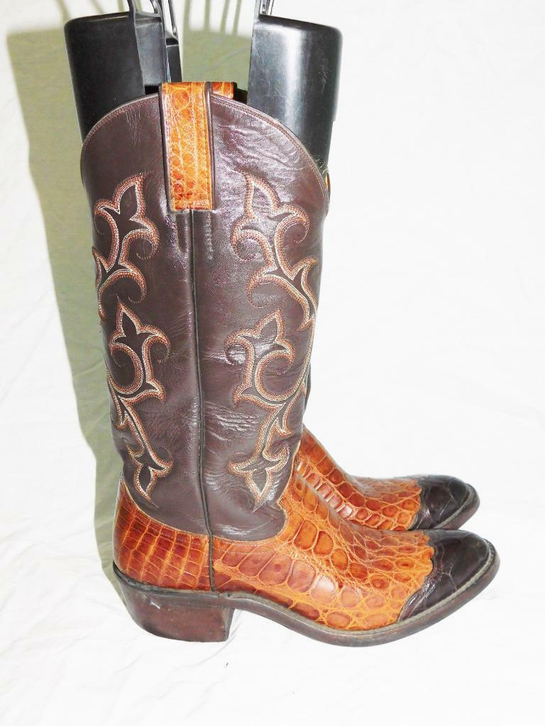 Caboots Texas Size 7 Narrow Brown Smooth Nile Crocodile Wing Tip Cowboy Boots