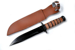 Kabar-Style-tactical-blade-with-stacked-leather-handle