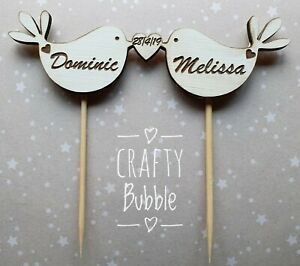 Handmade-Wooden-engraved-personalised-bird-heart-cake-topper-wedding-anniversary