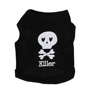 90ef7c07ab Black Skull Pattern Sleeveless Pet Dog Tank Top Tee Shirt Clothes XS ...