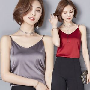 ee119325fb09f7 Details about HOT Women s Sexy Summer Soft V-Neck Imitated Silk Satin  Camisole Blouse Tank Top