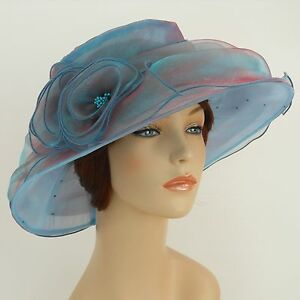 New-Church-Kentucky-Derby-Wedding-Party-Organza-Dress-Hat-3188-Turquoise