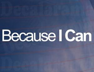 BECAUSE-I-CAN-Funny-Novelty-Car-Van-Window-Bumper-Vinyl-Sticker-Decal-LARGE