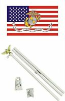 3x5 U.s. Usa / Ega Usmc Flag W/ 6' Ft White Flagpole Flag Pole Kit