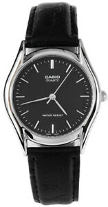 Casio-Men-039-s-Analog-Quartz-Stainless-Steel-Black-Leather-Watch-MTP1094E-1A