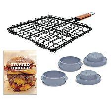 Stuffed Burger Hamburger Patty Press BBQ Grilling Kit Recipe Book & Grill Basket