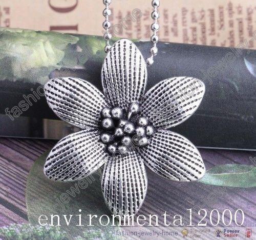 Antique Tibetan Silver Big Flower Pendant Long Chain Nice Necklace