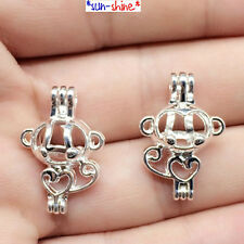 BULK! 10PCS Bright Silver Color CUTE MONKEY Cage Pendant for Bead/Gem/Pearl