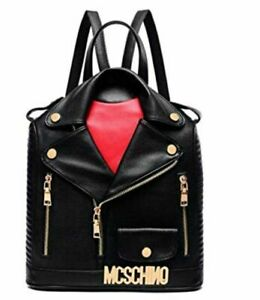 Coolives-PU-leather-retro-jacket-Shoulder-Backpack-Rucksack-Bag-moschino-style