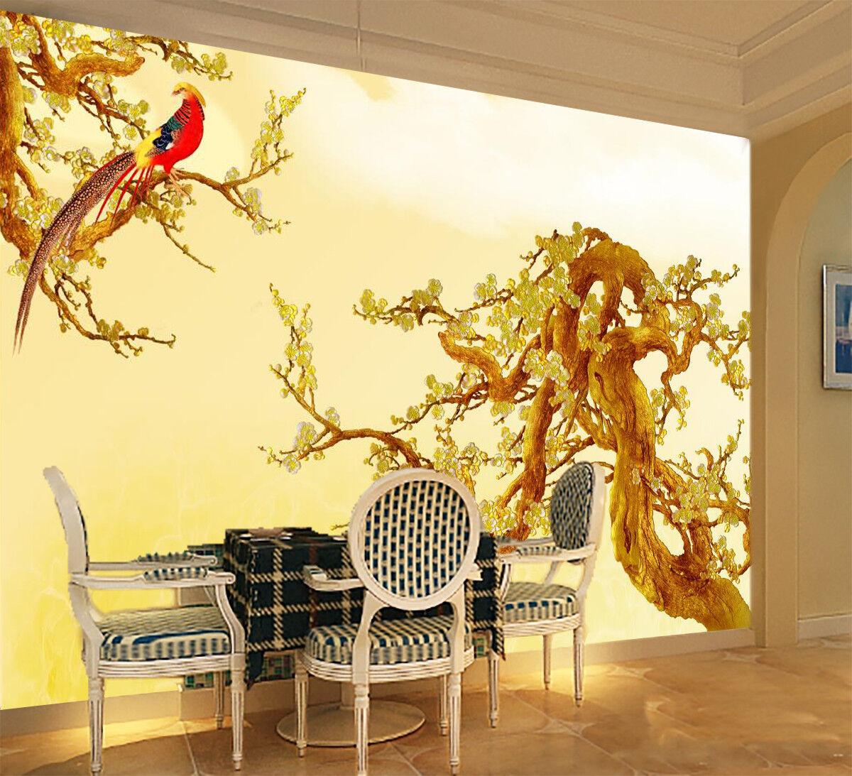 3D Holz Vogel Muster 8963 Tapete Wandgemälde Tapeten Bild Familie DE Jenny