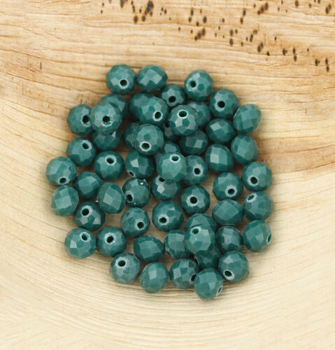 25 Opaque Crystal Glass Beads Faceted Rondelles 8mm x 6mm BD690 Sea Green