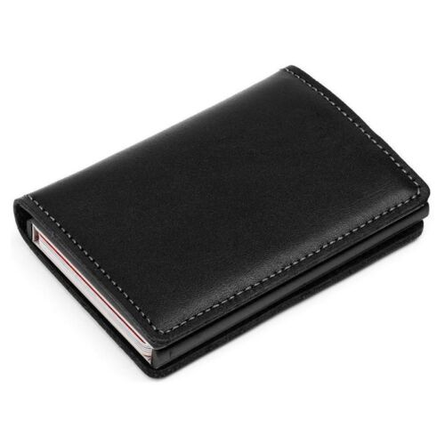 Auto Credit Card Holder Leather RFID Blocking Small Metal Wallet Money Clip AG