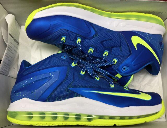pretty nice 35fe1 17a10 Nike Air Max Lebron XI 11 Low Sprite Hyper Cobalt Blue Volt White Sz 10