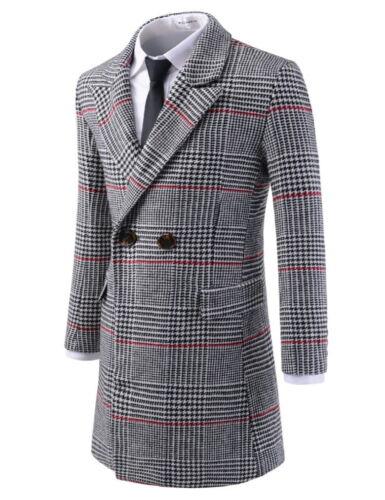 TheLees Mens Double Breasted Peaked Lapel Wool Blend Long PEA Coat NKDC7081